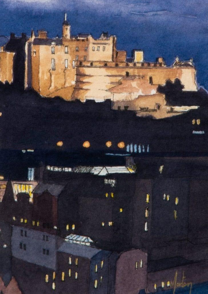 'Edinburgh Castle at Night, a print by Morton Murray