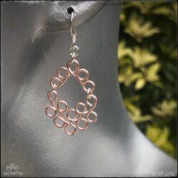 scroll style earrings blush pink by elfin alchemy