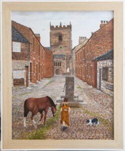 'Church Street, Croston', framed, by George Horsfield