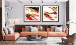'El Fuego 1 & 2' a framed fine art print by Celia Davies