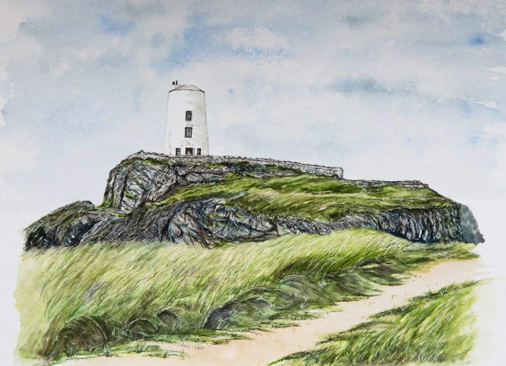 'The Lighthouse' original watercolour by Helen Worthington