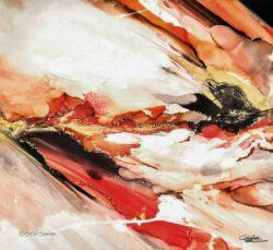 'El Fuego' hand embelished and signed artwork by Celia Davies