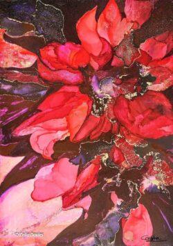 'Flora Rosas' Hand Embelished Print by Celia Davies