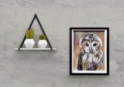 'Little Owl' by Pam Wakefield on wall