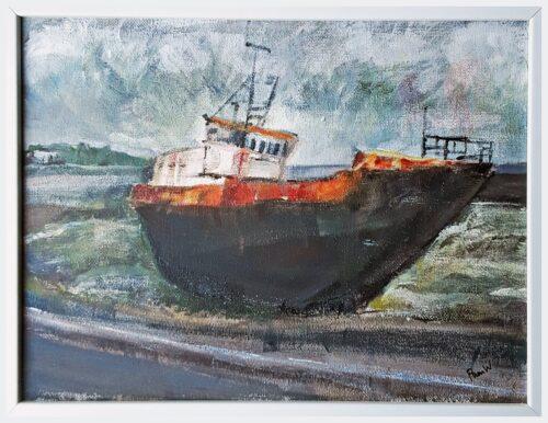 'Rusty Old Boat' by Pamela Wakefield, framed
