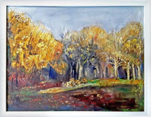 'Woods Before the Leaves Fell' by Pamela Wakefield, framed
