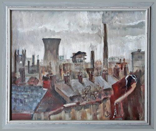 'Old Town' by Pamela Wakefield, framed