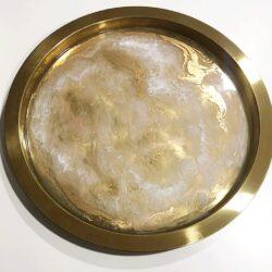 Round Gold Leaf in Epoxy Resin Tray by Tara Art London