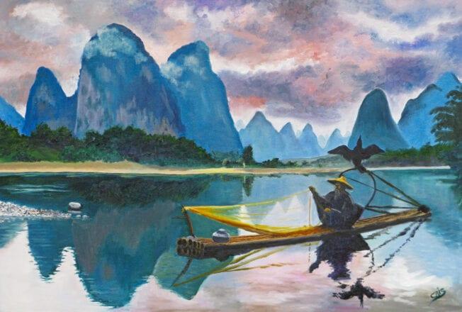 'Cormorant Fishing in Guelin' by Chris Rowe
