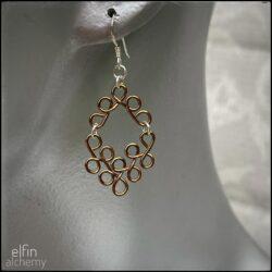 elfin alchemy bronze scroll style sculptural wirework earrings