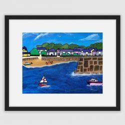 A framed fine art print of Saundersfoot Harbour by Lynartwales