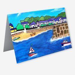 A fine art card of Saundersfoot Harbour by Lynartwales