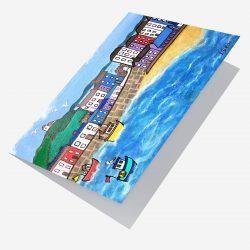 Open card of Tenby Harbour by Lynartwales