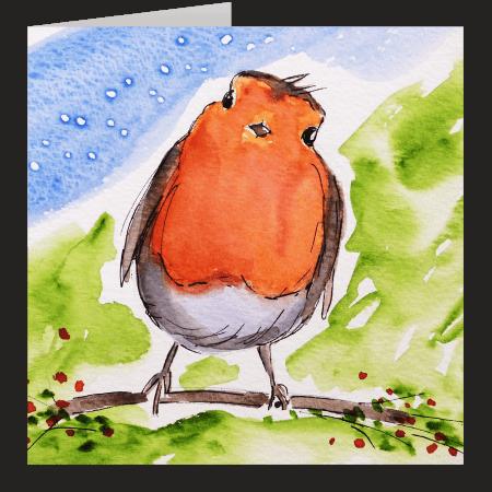 Cheeky Robin. A fine art card by Rosie Rimmer