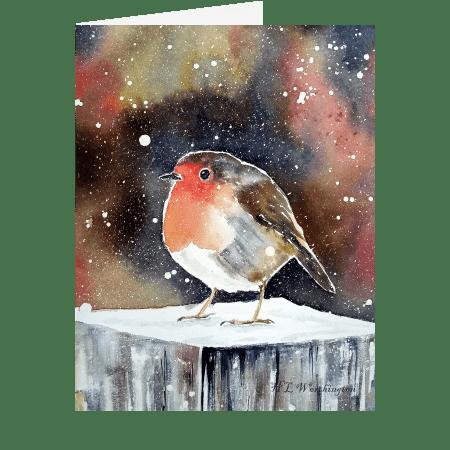 Christmas Robin. A fine art Christmas Card by Helen Worthington