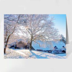 Snowy Hall Barn, Rivington. A fine art Christmas card by David Ruaux