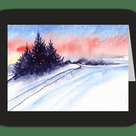 Moorland Snowfall. Fine art card by Rosie Rimmer