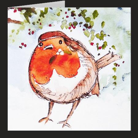 Robin With Mistletoe. Fine art card by Rosie Rimmer