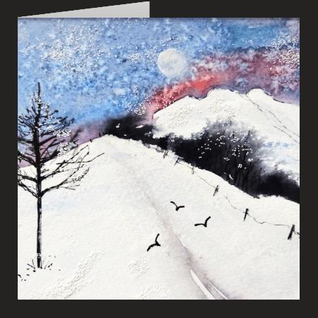 Snowy Hillside. A fine art card by Rosie Rimmer